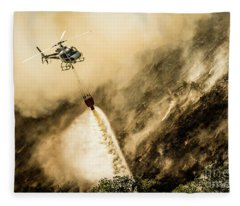 Helicopter Dropping Water On A Forest Fire Fleece Blanket
