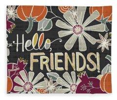 Hello Friends Fall Art Black Background Fleece Blanket
