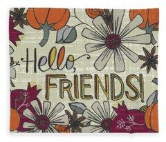Hello Friends Fall Art Cream Background Fleece Blanket