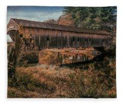 Hemlock Covered Bridge Fryeburg,maine. Fleece Blanket