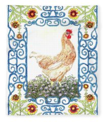Hen In The Garden Fleece Blanket