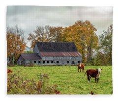 Herefords In Fall Fleece Blanket