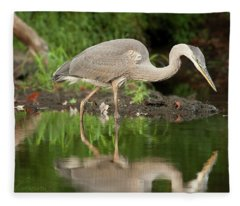 Heron Fishing Fleece Blanket