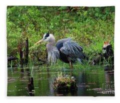 Heron In Beaver Pond Fleece Blanket