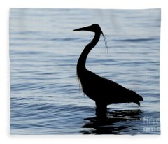 Heron In Silhouette Fleece Blanket