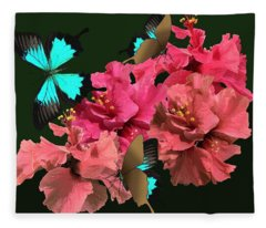 Hibiscus Butterfly Joy Fleece Blanket