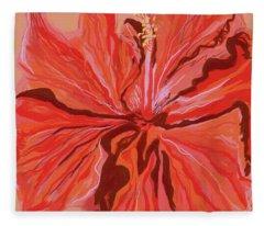 Hibiscus Color Lines Fleece Blanket