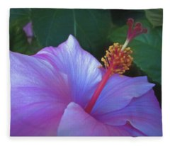 Fleece Blanket featuring the mixed media Hibiscus Grace 5  by Lynda Lehmann