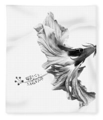 Hibiscus In Black And White Fleece Blanket