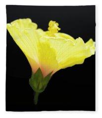 Hibiscus In Black Fleece Blanket