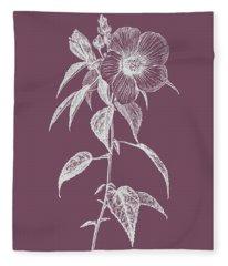 Hibiscus Roseus Purple Flower Fleece Blanket