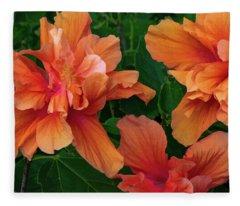 Hibiscus Tripcus Orangus Fleece Blanket