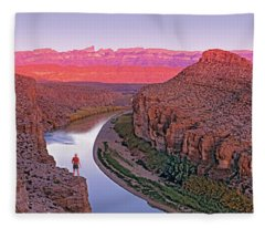 High Angle View Of A River Running Fleece Blanket