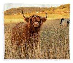 Highland Cows On The Farm Fleece Blanket