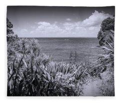 Hiking On Tiritiri Matangi New Zealand Bw Fleece Blanket
