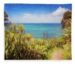 Hiking On Tiritiri Matangi New Zealand Painterly Fleece Blanket