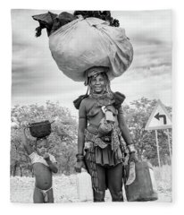 Himba Both Carrying  Fleece Blanket