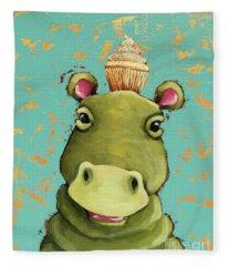 Hippo In Vanilla Fleece Blanket