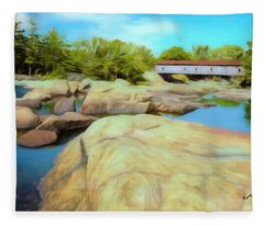 Historic Jay Covered Bridge Spanning The Ausable River In The Ad Fleece Blanket