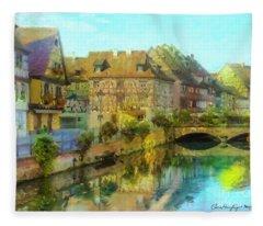 Historic Village On The Rhine Fleece Blanket