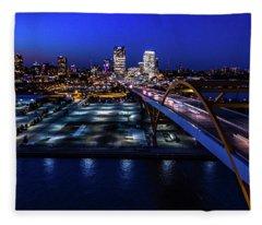 Fleece Blanket featuring the photograph Hoan Bridge At Dusk by Randy Scherkenbach