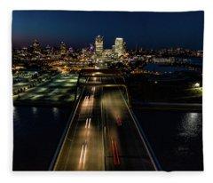 Fleece Blanket featuring the photograph Hoan Bridge Streaks by Randy Scherkenbach