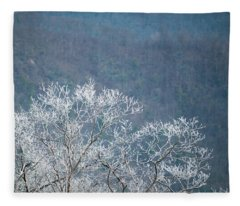 Hoarfrost Collects On Branches Fleece Blanket