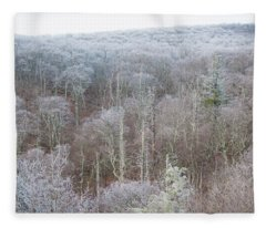 Hoarfrost In The Tree Tops Fleece Blanket