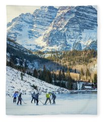 Hockey On Maroon Lake Maroon Bells Aspen Colorado Fleece Blanket