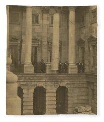 Hoisting Final Marble Column At United States Capitol Fleece Blanket
