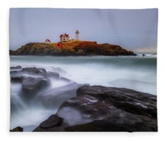 Holiday Lights, Nubble Lighthouse York Me. Fleece Blanket