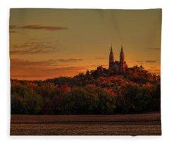 Holy Hill Sunrise Panorama Fleece Blanket