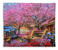 Home Is Where The Heart Is Country Painting Fleece Blanket