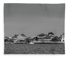 Homes Across The Water In Morning In Black And White Fleece Blanket