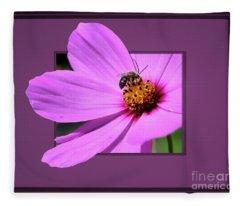 Honey Bee On Pink Fleece Blanket