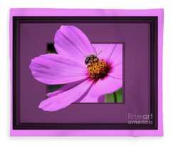 Honey Bee On Pink Fleece Blanket