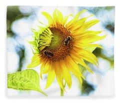Honey Bees On Sunflower Fleece Blanket
