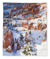 Hoodoos And Fir Tree In Winter Bryce Canyon Np Utah Fleece Blanket