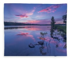 Horn Pond Sunset Fleece Blanket