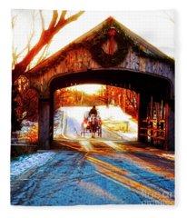 Horse Drawn Carriage Covered Bridge Long Grove Il 014060036 Fleece Blanket