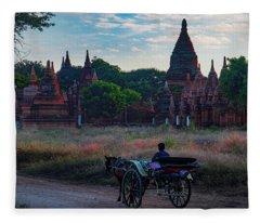 Horse Drawn Cart In Myanmar At Sunrise Fleece Blanket