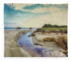 Horses Along The Beach Fleece Blanket