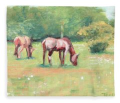 Horses In The Fields Fleece Blanket