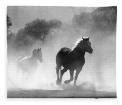 Horses On The Run Fleece Blanket