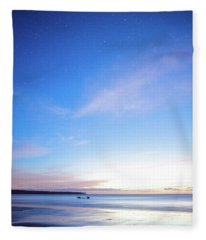Horses Play In The Surf At Twilight Fleece Blanket