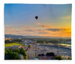 Hot Air Ballon Sunset Fleece Blanket