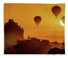 Hot Air Balloons At Sunrise Fleece Blanket