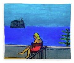 Hotel Balcony At Stromboli Fleece Blanket