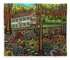 House In The Meadow  Fleece Blanket