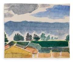 Houses, Trees, Mountains, Clouds Fleece Blanket